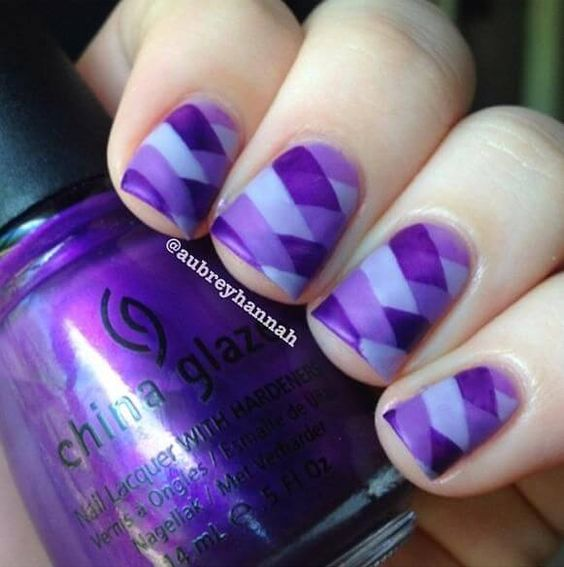 a chic white, lavender and violet geometric nail art geometry is one of the current trends