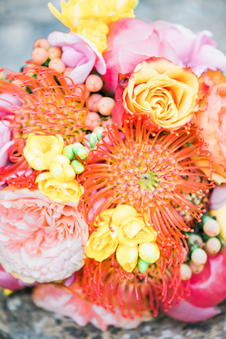 Pincushion protea and pink peony bouquet