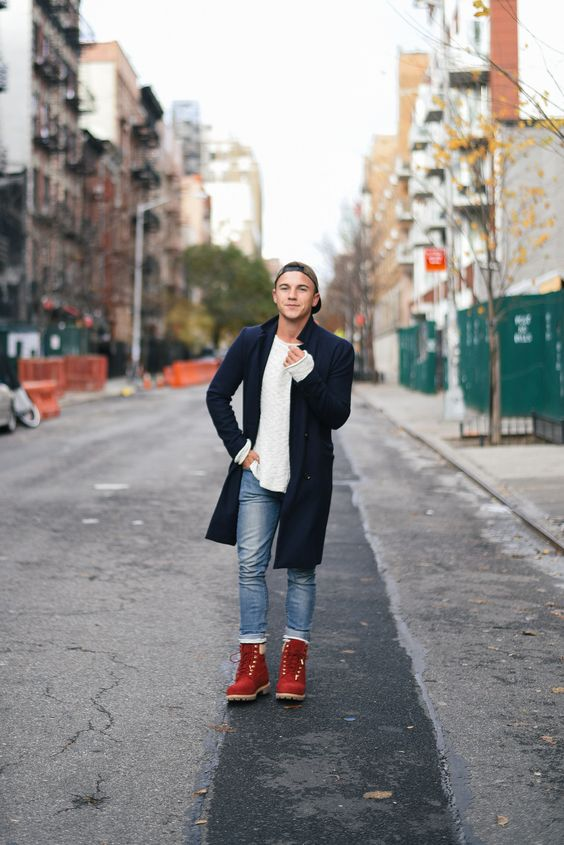 blue jeans, a white sweater, a navy coat and red boots for holidays