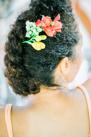 Chic updo with flowers