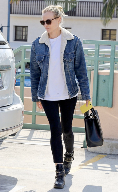 With white t-shirt, leggings, black leather boots and black leather bag