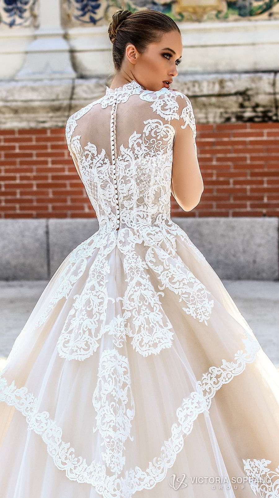 victoria soprano 2018 bridal long sleeves illusion high neck sweetheart neckline heavily embellished bodice princess a line wedding dress sheer lace back chapel train (monique) zbv