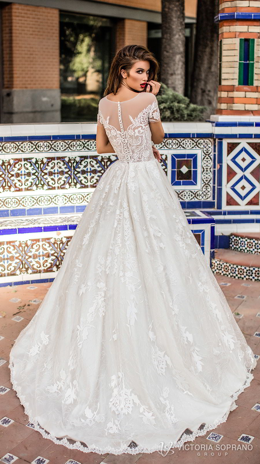 victoria soprano 2018 bridal short sleeves illusion jewel sweetheart neckline heavily embellished bodice romantic a line wedding dress with pockets sheer lace back chapel train (vivian) bv