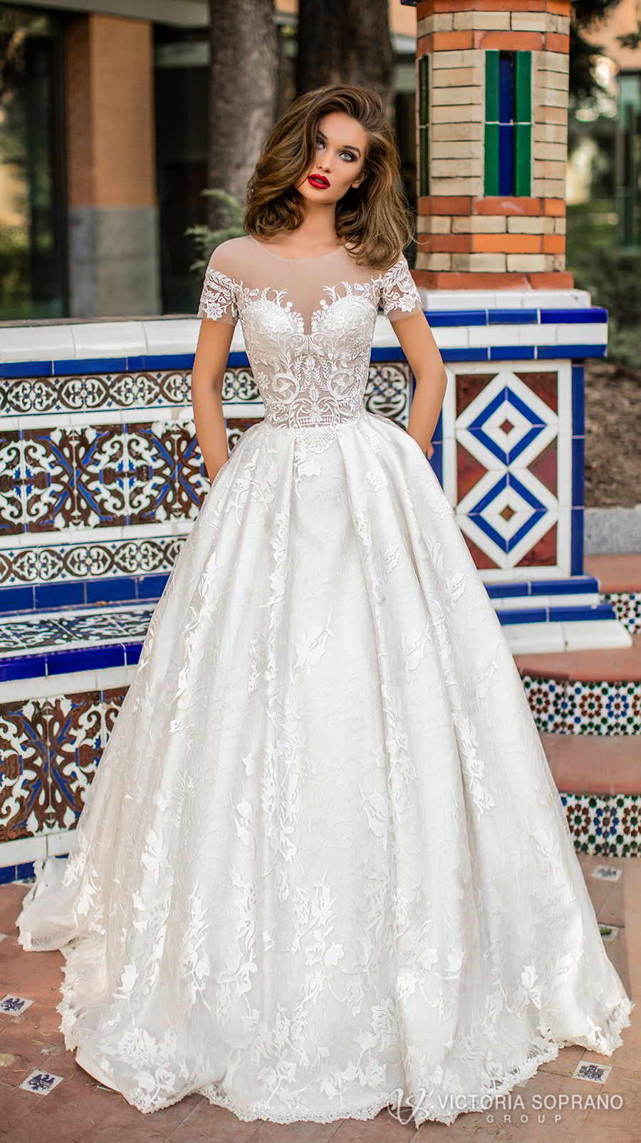 victoria soprano 2018 bridal short sleeves illusion jewel sweetheart neckline heavily embellished bodice romantic a line wedding dress with pockets sheer lace back chapel train (vivian) mv
