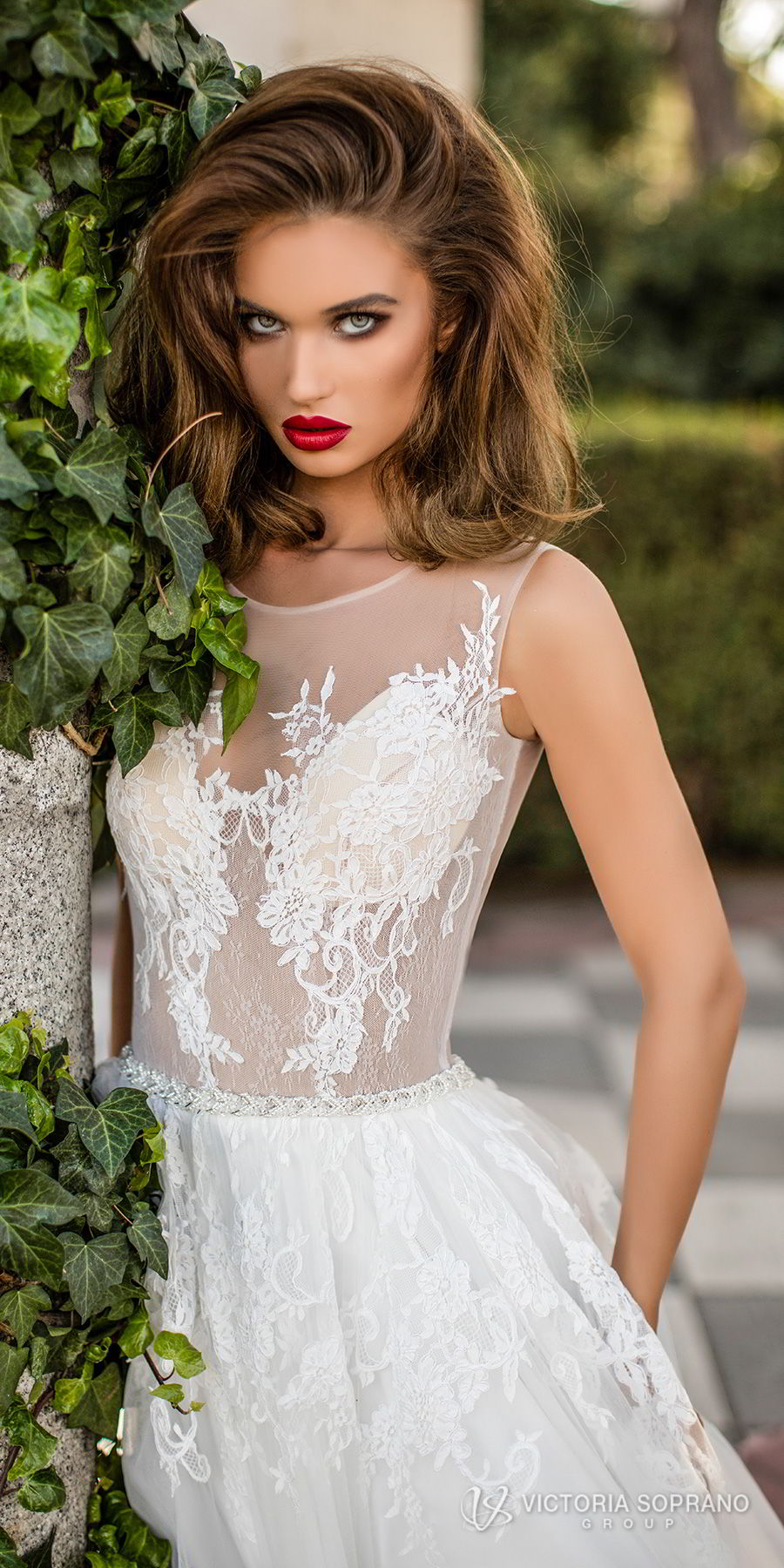 victoria soprano 2018 bridal sleeveless illusion jewel sweetheart neckline heavily embellished bodice romantic a line wedding dress sheer lace back chapel train (lilou) zv