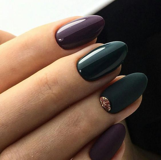 forest green and ultra violet nails, the latter being the trend of the next year