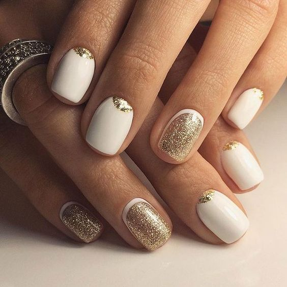 white nails with gold - half moon nails in both colors