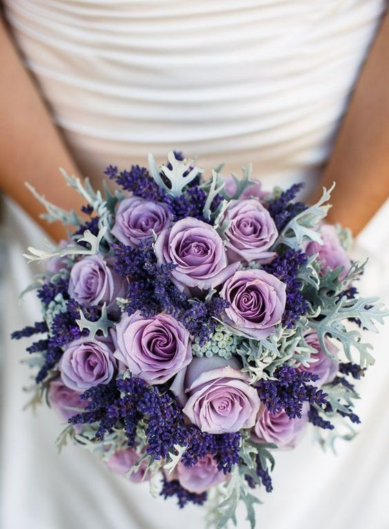 violet lavender, lilac roses and pale miller for an eye-catchy bouquet