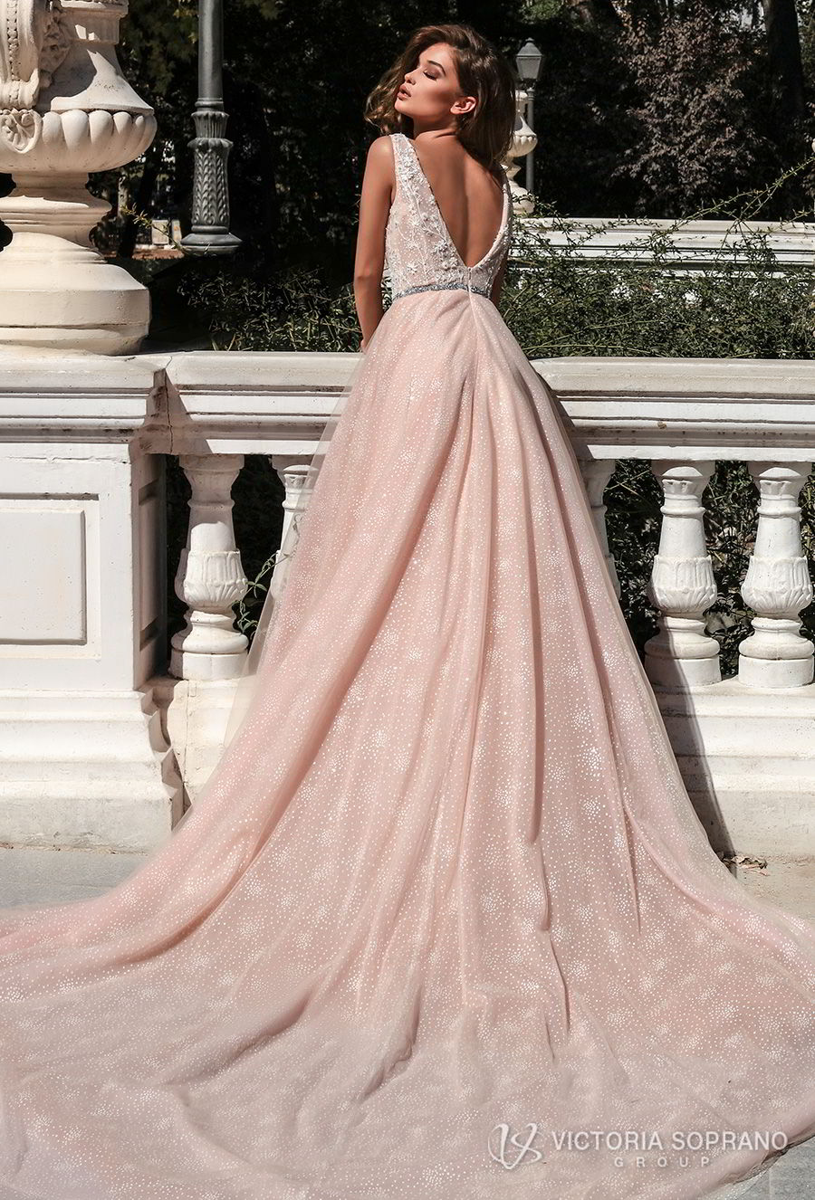 victoria soprano 2018 bridal sleeveless deep v neck heavily embellished bodice romantic pink a line wedding dress open v back chapel train (selesta) bv