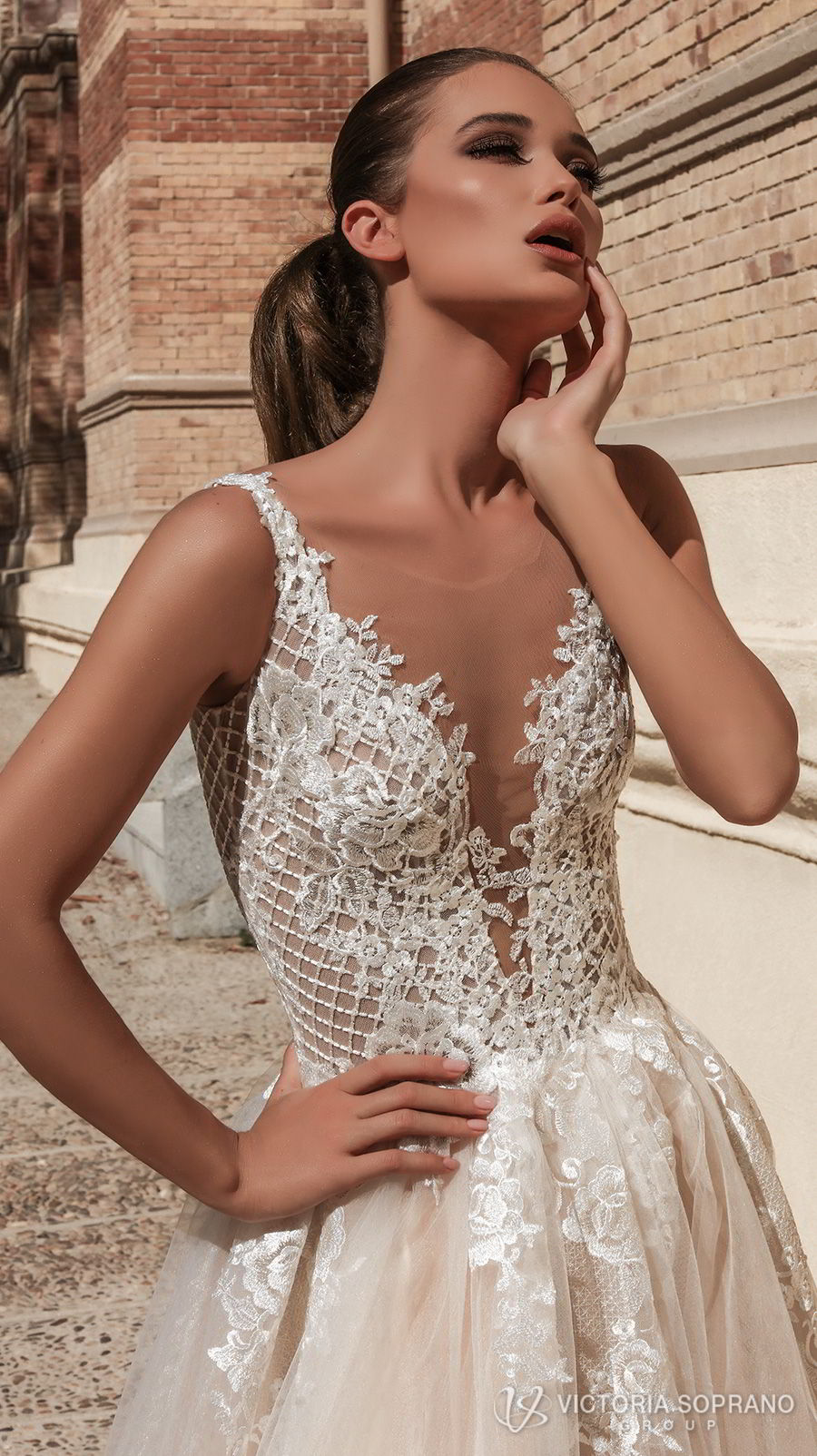 victoria soprano 2018 bridal sleeveless deep plunging v neck heavily embellished bodice romantic sexy champagne color a line wedding dress open v back chapel train (bella) zv