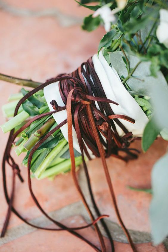 brown leather cord for wraaping a wedding bouquet will add a textural touch