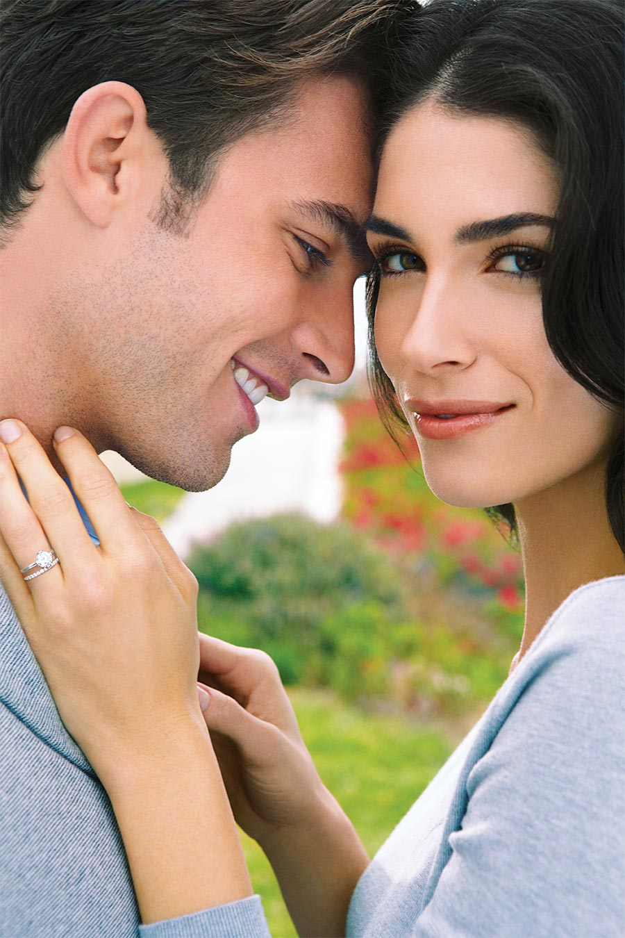 platinum jewelry beautiful diamond engagement ring couple shot