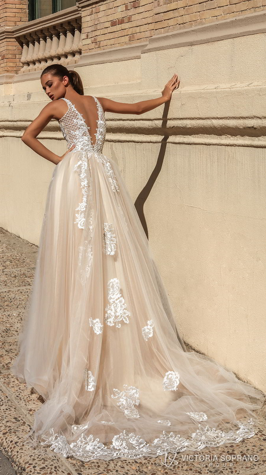 victoria soprano 2018 bridal sleeveless deep plunging v neck heavily embellished bodice romantic sexy champagne color a line wedding dress open v back chapel train (bella) bv