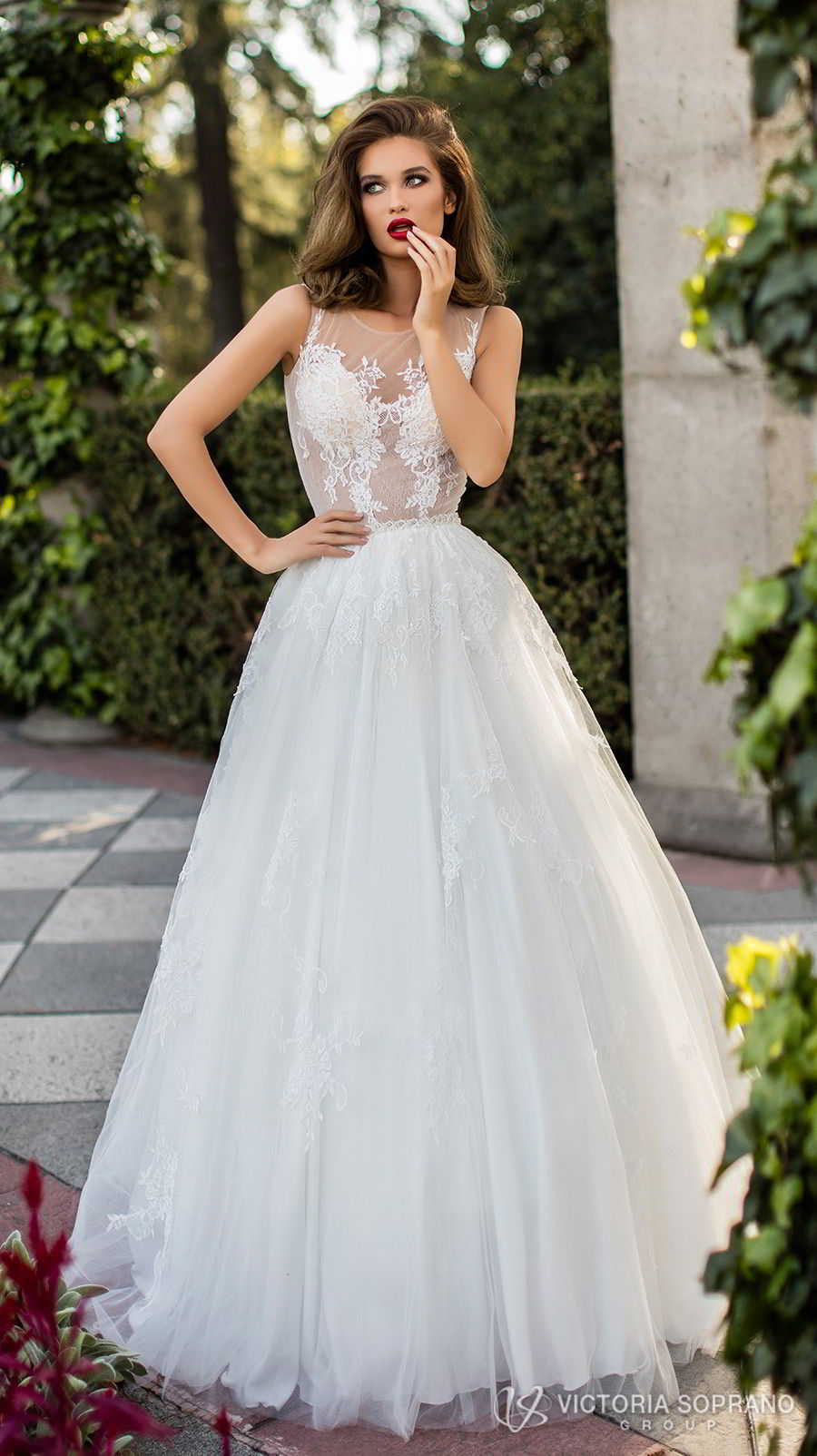 victoria soprano 2018 bridal sleeveless illusion jewel sweetheart neckline heavily embellished bodice romantic a line wedding dress sheer lace back chapel train (lilou) mv