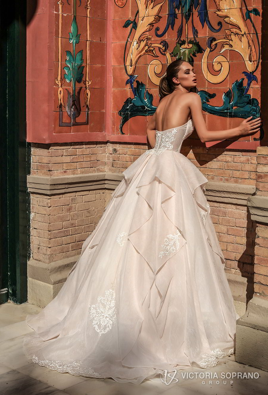 victoria soprano 2018 bridal strapless sweetheart neckline heavily embellished bodice romantic princess blush ball gown a line wedding dress chapel train (chantal) bv