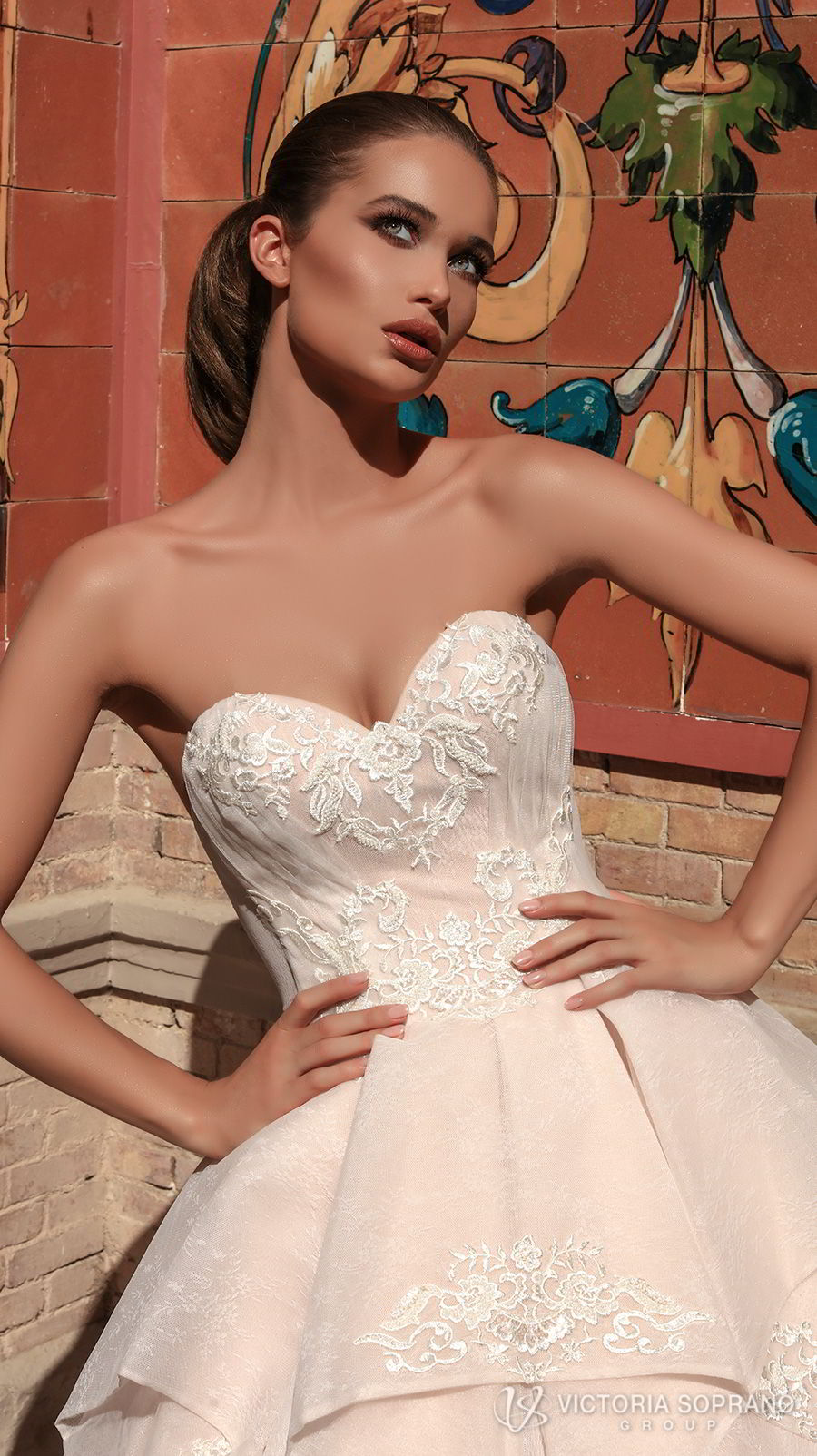 victoria soprano 2018 bridal strapless sweetheart neckline heavily embellished bodice romantic princess blush ball gown a line wedding dress chapel train (chantal) zv