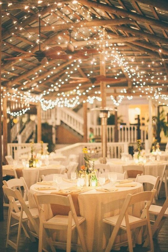 string lights hanging over the reception is a timeless idea, which will fit any wedding style