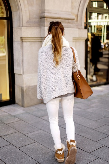 With white pants, white cardigan, oversized scarf and brown tote