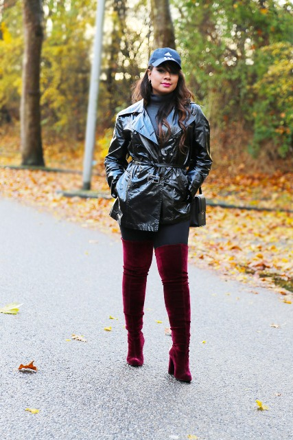 With turtleneck, cap, over the knee boots and pants