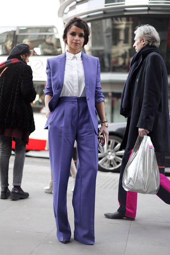 an ultraviolet pantsuit with a white shirt can be a nice bold idea for work
