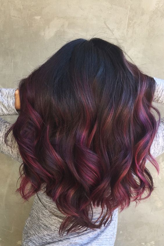 black hair with purple and fuchsia balayage will help you stand out