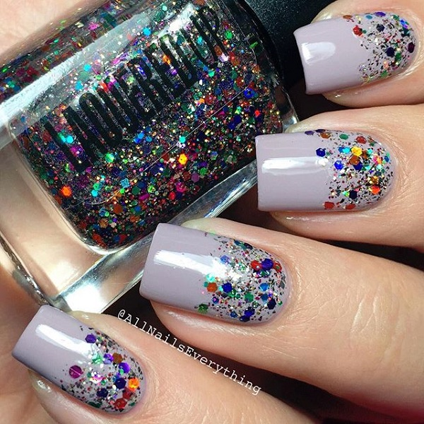 Gary-and-glitter-nail-art Winter Nail Art Ideas - 80 Best Nail Designs This Winter