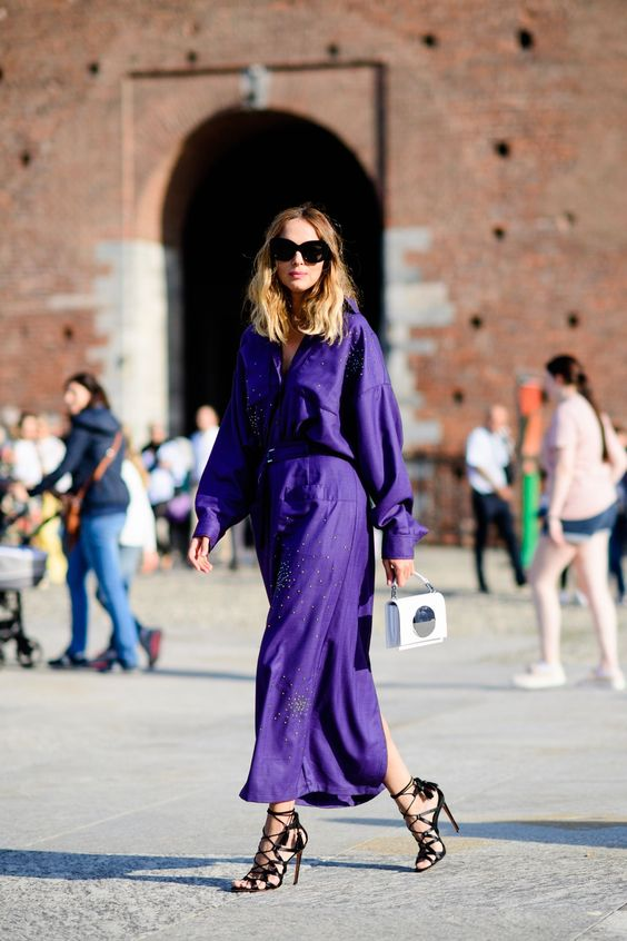 an ultraviolet midi shirt dress with rhinestones and black strappy heels for a special occasion