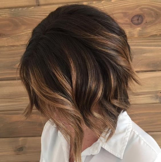 a caramel brunette balayage bob with dark smudge root looks super chic