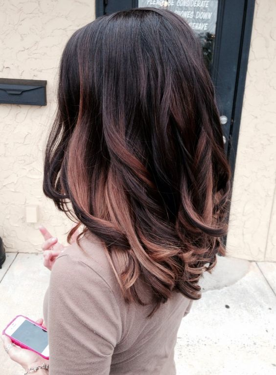 dark plum hair with some rose gold and chestnut highlights