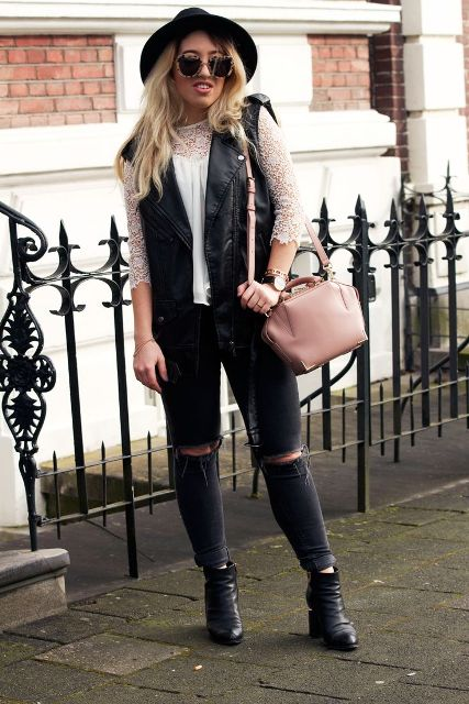 With white blouse, wide brim hat, distressed jeans, ankle boots and pale pink bag