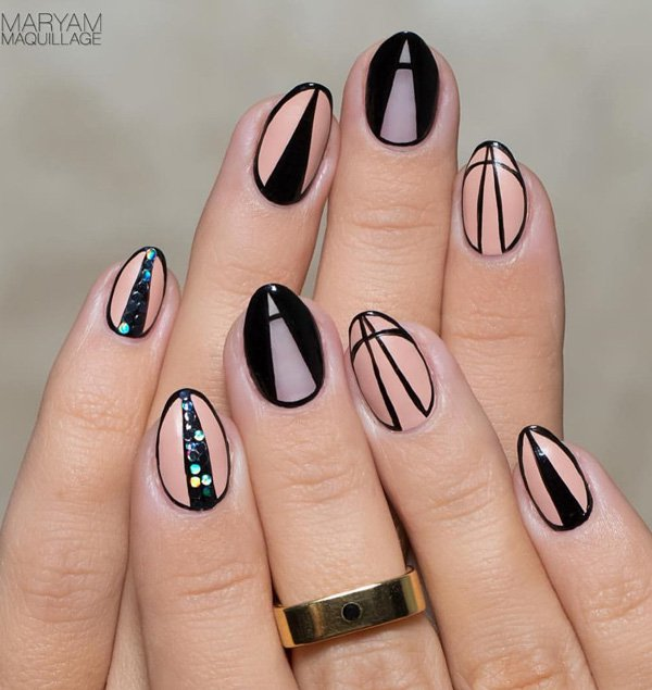 Nude-color-and-black-nail-art Winter Nail Art Ideas - 80 Best Nail Designs This Winter