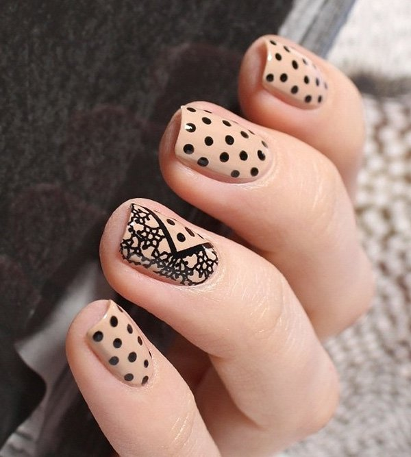 Nude-color-with-dots-and-lace-nail-art1 Winter Nail Art Ideas - 80 Best Nail Designs This Winter