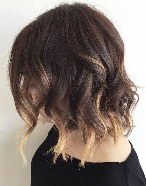 A-line wavy bob with blonde balayage highlights