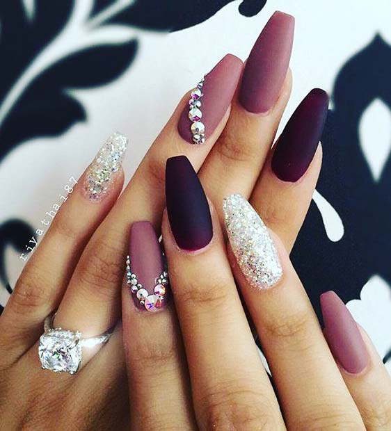 Purple and Sparkle Design for Winter Nail Ideas