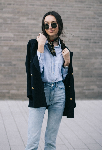 With shirt, navy blue blazer and high-waisted jeans