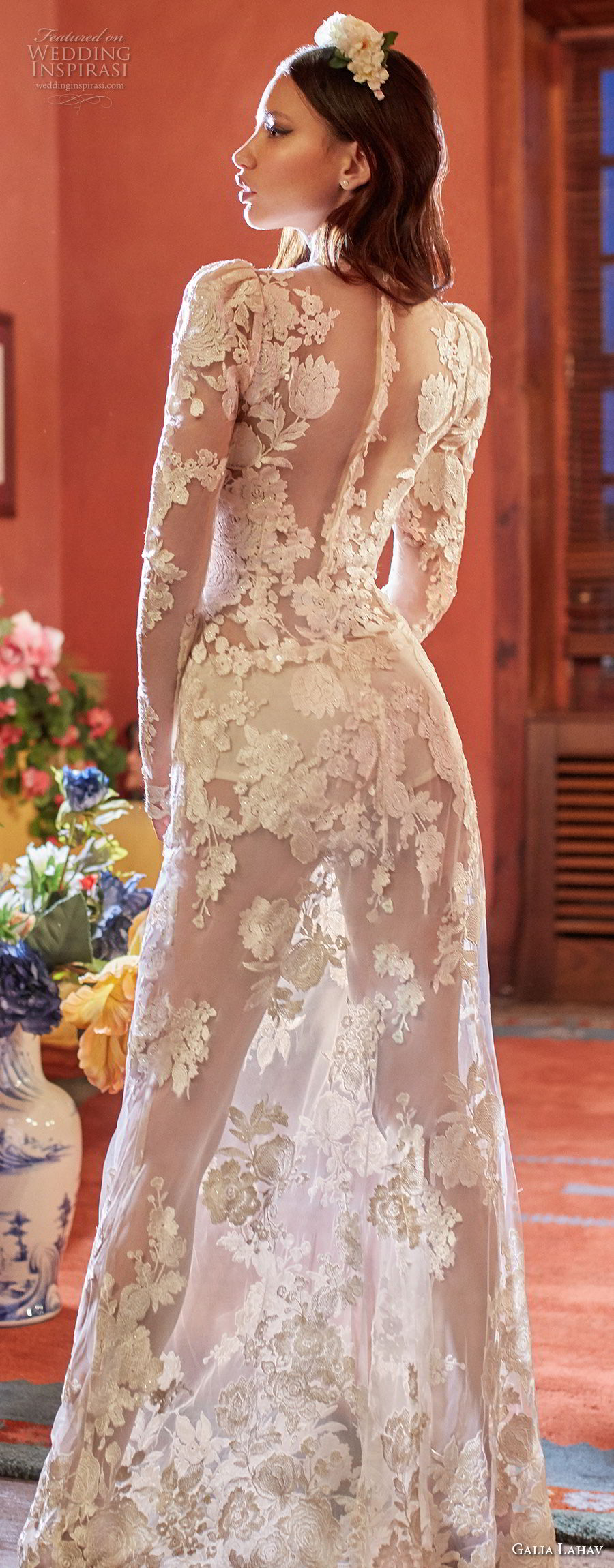 galia lahav couture fall 2018 bridal long sleeves deep v neck full embellishment sexy elegant modified a line wedding dress sheer button back sweep train (6) zbv