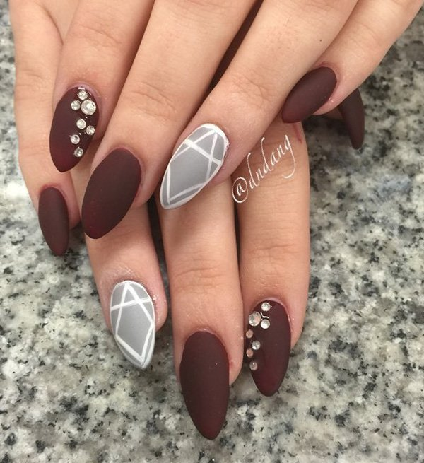 Brow-and-gary-nail-art Winter Nail Art Ideas - 80 Best Nail Designs This Winter