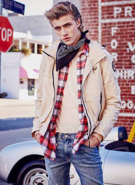 With beige t-shirt, plaid shirt, beige jacket and jeans