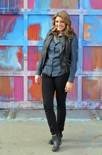 With denim shirt, black straight pants, ankle boots and necklace