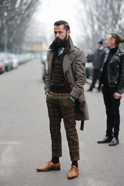 With printed vest, gray coat and brown shoes