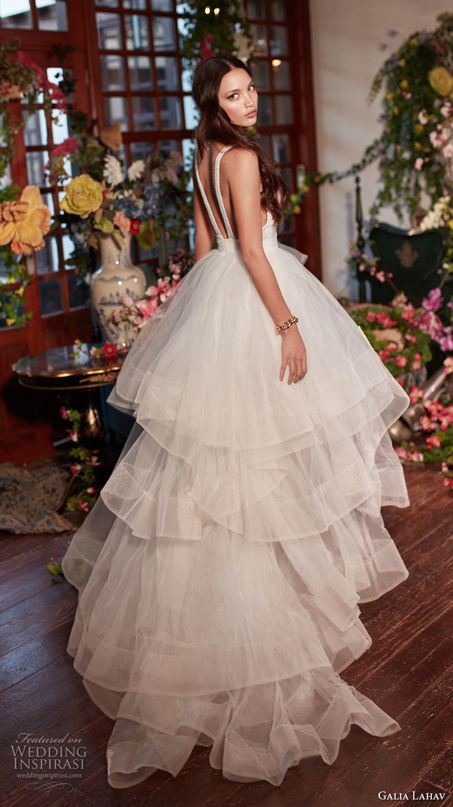 galia lahav couture fall 2018 bridal sleeveless deep v neck heavily embellished bodice tulle layered skirt sexy romantic a line wedding dress open back medium train (8) bv