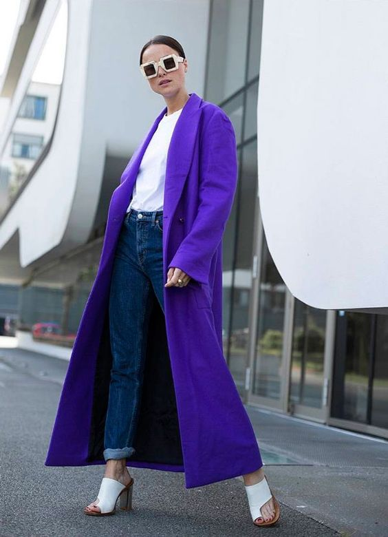 a modern ultraviolet coat, jeans, a white tee for a bold modern look