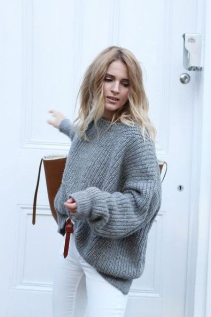 an oversized grey cashmere sweater, white denim and a comfy large bag for a casual winter look