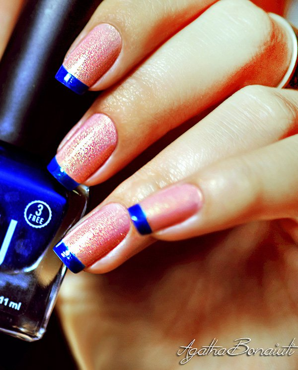 Blue-and-pink-frech-nail Winter Nail Art Ideas - 80 Best Nail Designs This Winter