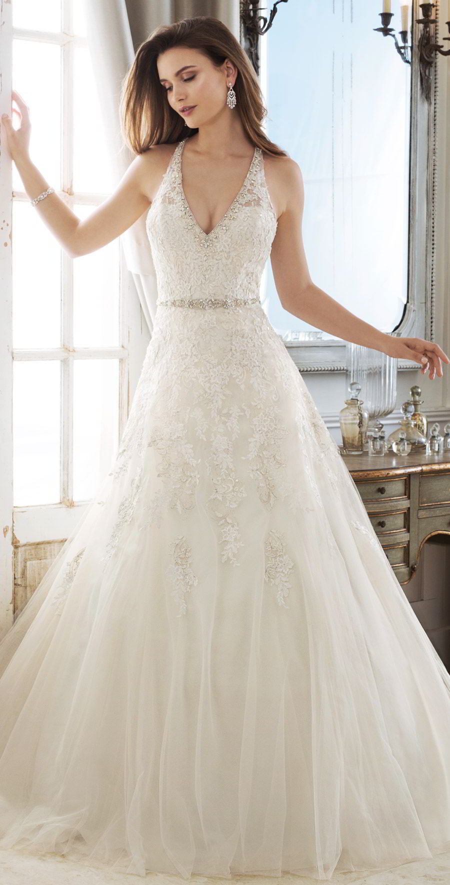 sophia tolli spring 2018 mon cheri bridals sleeveless illusion straps deep v neck beaded waist metallic lace bodice a line wedding dress ( y11878 kali) mv chapel train elegant