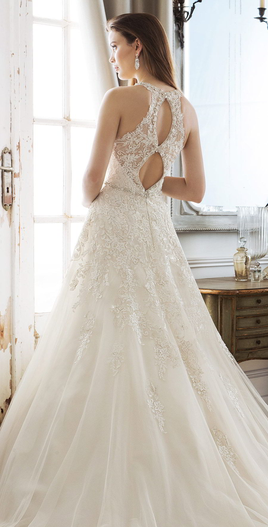 sophia tolli spring 2018 mon cheri bridals sleeveless illusion straps deep v neck beaded waist metallic lace bodice a line wedding dress ( y11878 kali) zbv chapel train romantic