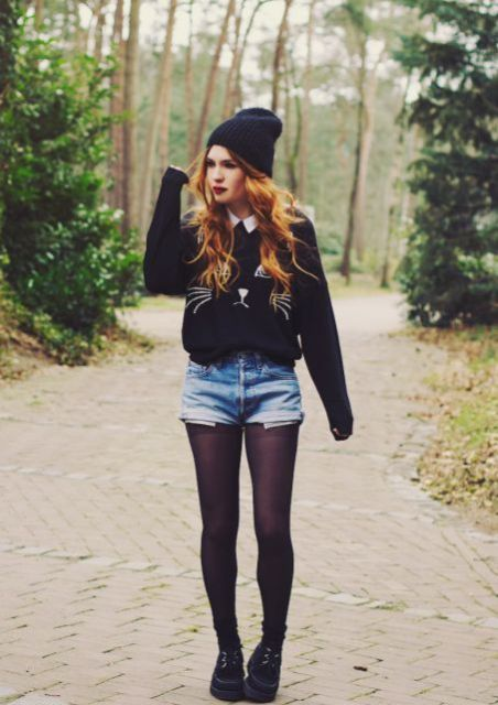 With printed sweater, beanie and platform boots