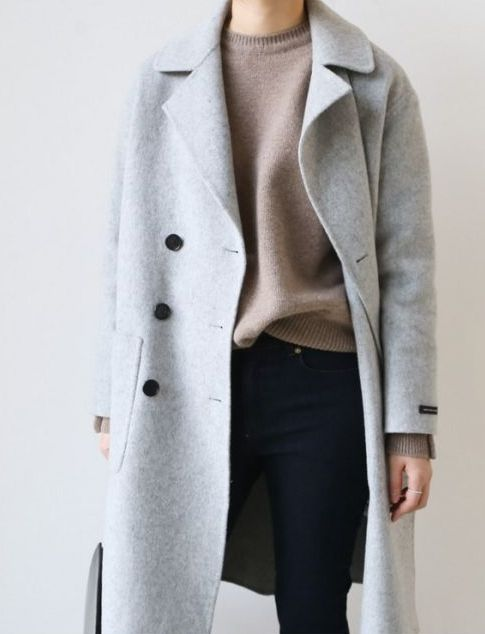 navy skinnies, a camel cashmere sweater, a dove grey coat for a comfy daily look