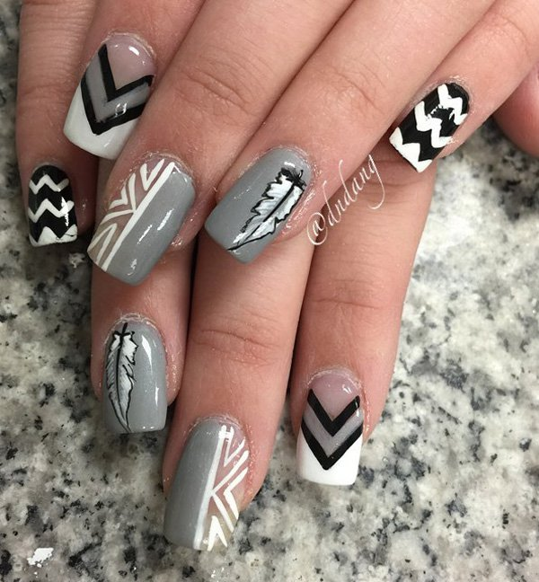 Gary-and-white-feather-nail-art Winter Nail Art Ideas - 80 Best Nail Designs This Winter