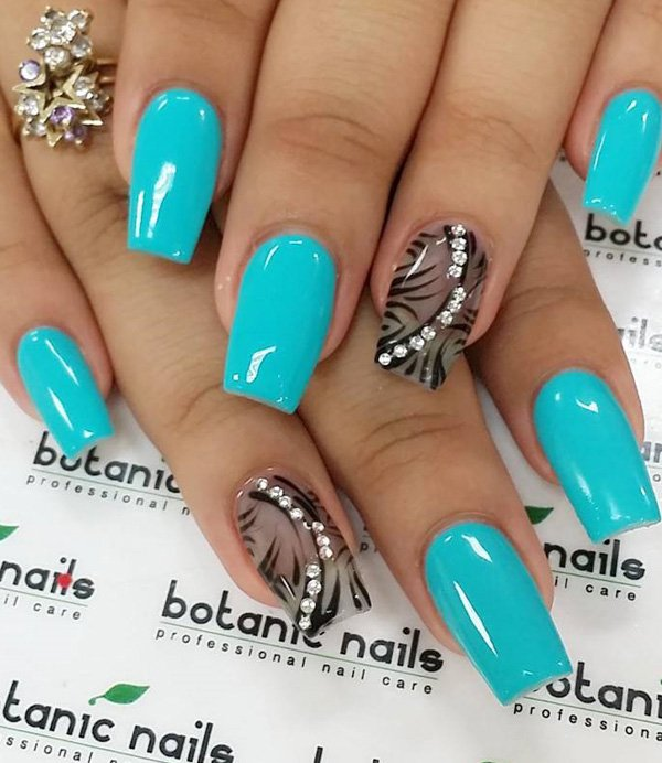 Blue-green-and-black-nail-art1 Winter Nail Art Ideas - 80 Best Nail Designs This Winter